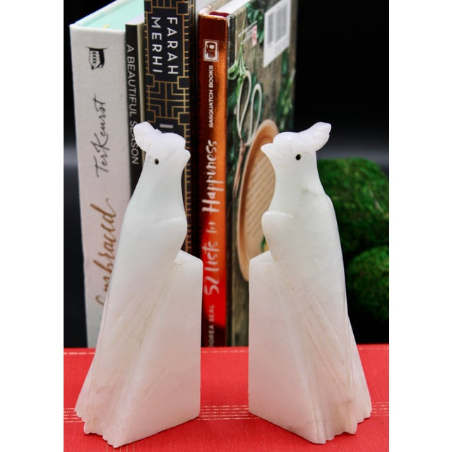 1940s Italian Alabaster Cockatoo Parrot Bookends - a Pair For Sale - Image 12 of 13