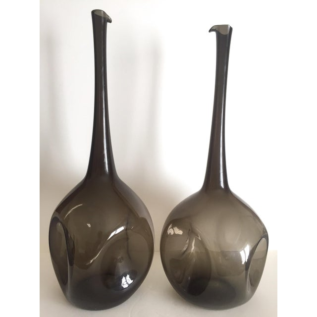 Vintage Mid Century Modern Rare Zeller Art Glass Charcoal Smoke Gray Monumental XL Hand Blown Floor Bottle Dimple Vases - a Pair For Sale - Image 12 of 13