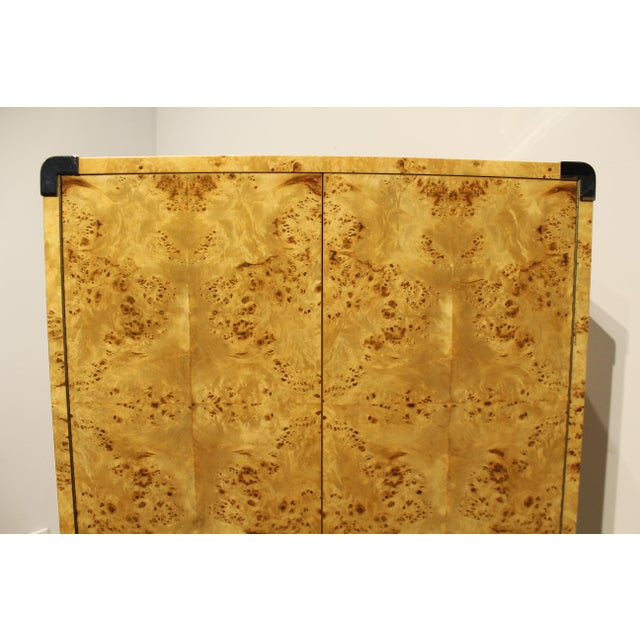 1980s Mid Century Modern Burl and Chrome High Chest Wardrobe by Pace For Sale - Image 5 of 10