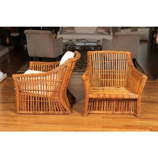 Magnificent Pair of Restored Vintage Rattan Club Chairs by McGuire - Image 8 of 10