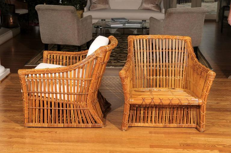 Magnificent Pair Of Restored Vintage Rattan Club Chairs By McGuire   Image  8 Of 10