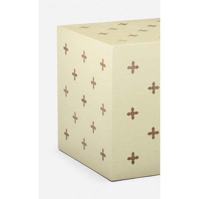 Edward Wormley for Dunbar Lacquered Cube / side table with walnut parquetry inlay.