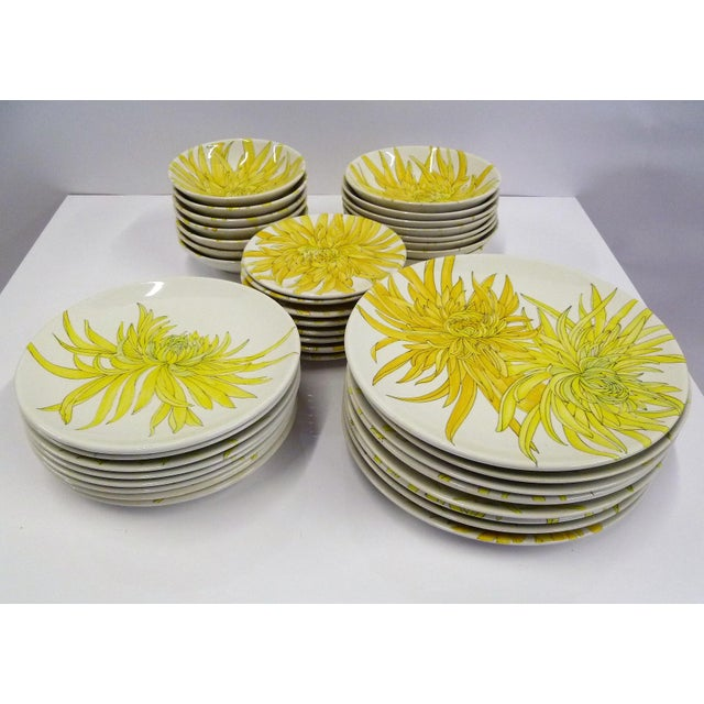 Mid Century Modern Ernestine Ceramics Dinnerware SeT, Chrysantemum Pattern Salerno, Italy - Set of 39 For Sale - Image 13 of 13