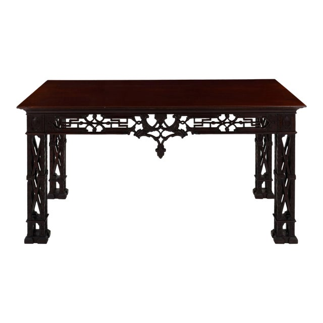Carved Mahogany English Antique Library Console Table For Sale
