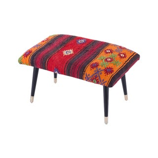 Pasargad Home Bosphorus Collection Red & Orange Kilim Cover Ottoman For Sale