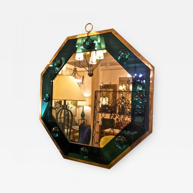 Andre Hayat Octagonal Silvered Frame Mirror with Deep Blue Insert.