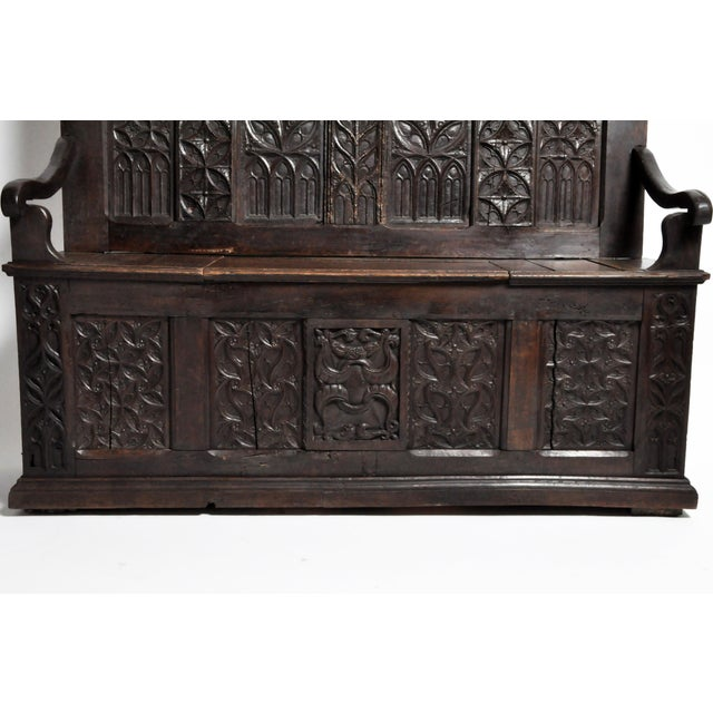 Wood 17th Century French Gothic Oak Hall Bench For Sale - Image 7 of 13