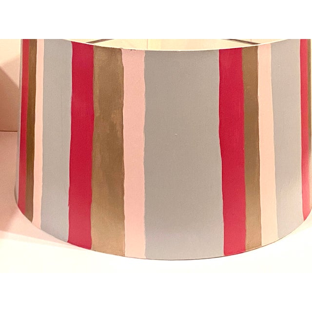 Contemporary Hand Painted Custom Modern Lampshade For Sale - Image 3 of 12