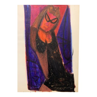 """Donald Stacy """"Ms.Y"""" C.1950s Gouache and Oil Pastel Mid Century Drawing For Sale"""