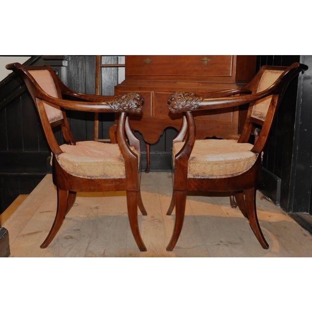 Brown Pair of Period Russian Neoclassical Walnut Chairs With Lion Motif For Sale - Image 8 of 10