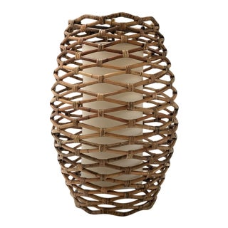 Bronze and Rattan Oversized Pendant Light For Sale