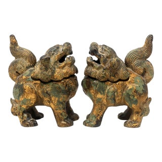Antique Iron Foo Dogs Lions Incense Burners - a Pair For Sale