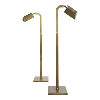 Pair of 1970s Patinated Brass Chapman Floor Lamps For Sale