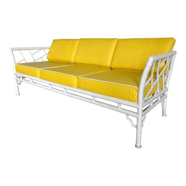Meadowcraft Faux Bamboo Outdoor/Indoor Sofa For Sale - Meadowcraft Faux Bamboo Outdoor/Indoor Sofa Chairish