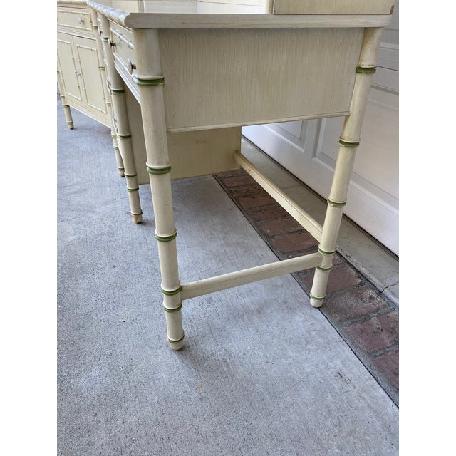 Thomasville Thomasville Allegro Regency Style Faux Bamboo Writing Dest & Hutch With Chair For Sale - Image 4 of 8