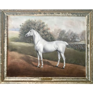 "19th C. Antique Pastel Equestrian Race Horse Portrait Painting ""Marquis"" by Dan Smith For Sale"