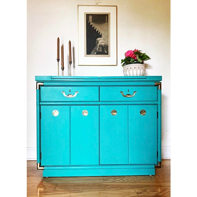 Turquoise Drexel Furniture Campaign Mid-Century Server or Buffet For Sale - Image 8 of 8