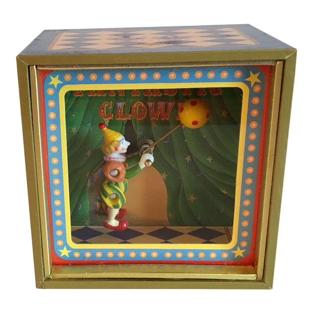 Vintage Music Box With Animated Clown Plays Bolero For Sale