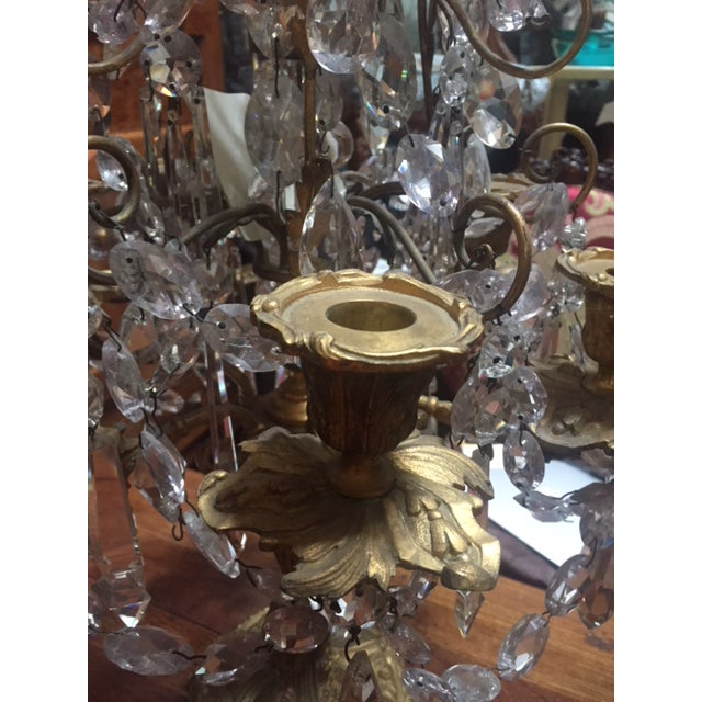 Bronze Early 19th Century French Dore Bronze & Crystal Girandoles - a Pair For Sale - Image 8 of 12