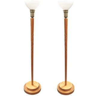 Russel Wright Style Hand-Carved Torchiere Floor Lamp, Pair For Sale
