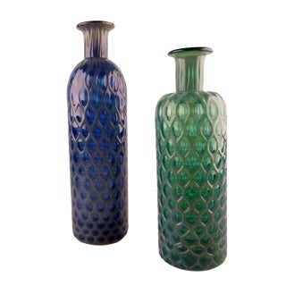 Green & Blue Handblown Glass Vases - A Pair For Sale