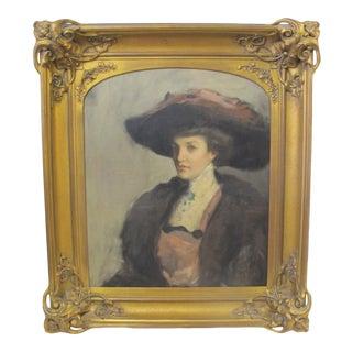 Antique Portrait of a Woman in Elaborate Art Nouveau Gilt Frame For Sale