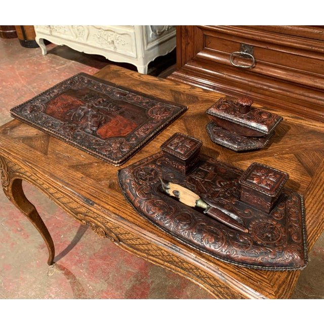19th Century French Gothic Embossed Leather Five-Piece Desk Set For Sale - Image 4 of 13