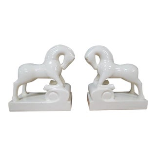 Vintage Mid Century Modern Style Ceramic Horse Bookends - a Pair For Sale