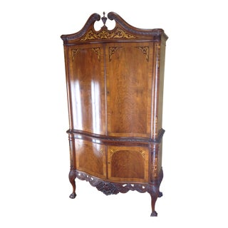 1910s Edwardian Highboy Marquetry Chippendale China Cabinet For Sale