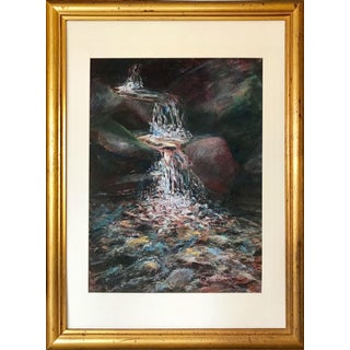 Vintage Pastel Impressionist Landscape Drawing of a Waterfall For Sale