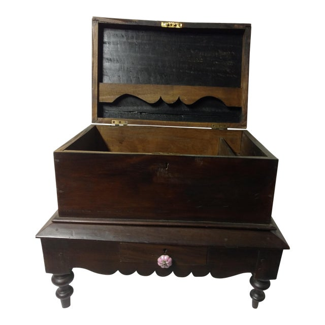 1920s Antique Small Anglo Indian Pettagama Wooden Dowry Chest For Sale