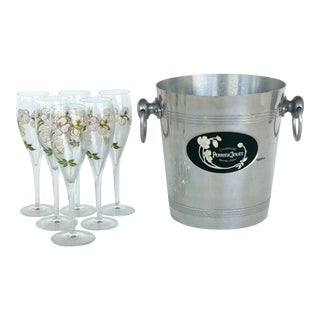 Perrier Jouet Champagne Bucket & Flute Glasses- Set of 7 For Sale