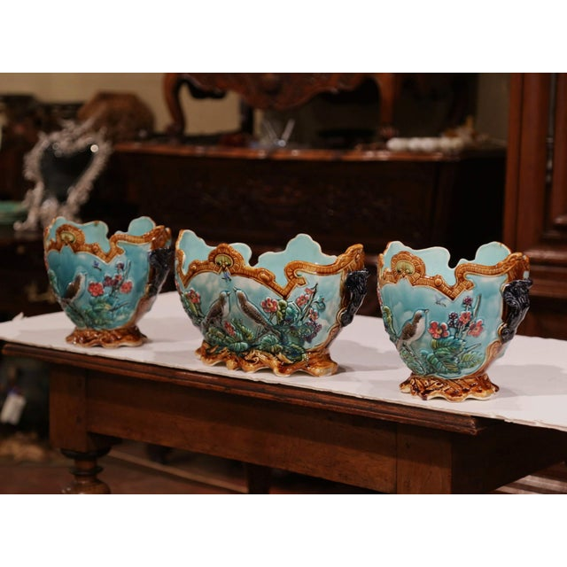 French 19th Century French Hand Painted Barbotine Cachepots With Bird and Flower Decor For Sale - Image 3 of 13