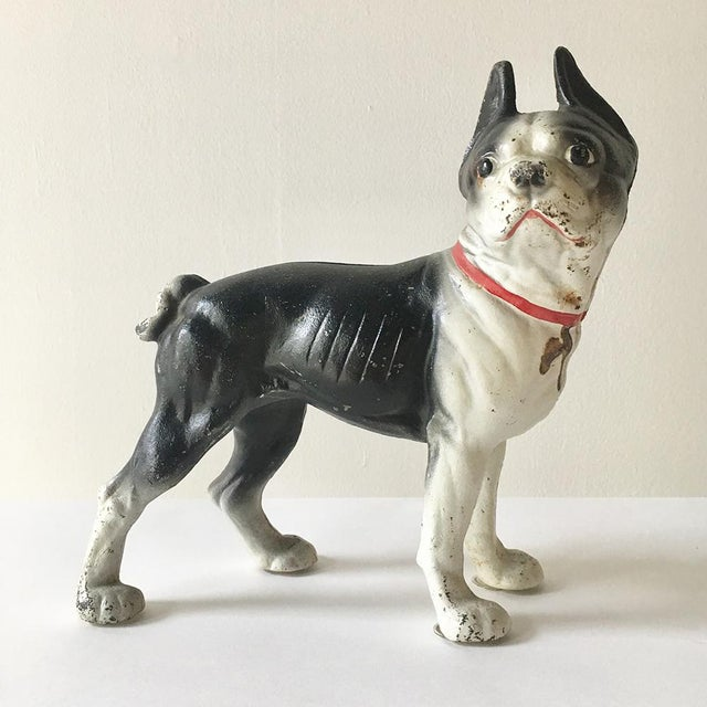 1970s A Painted Cast Iron French Bull Dog Door Stop For Sale - Image 5 of 5