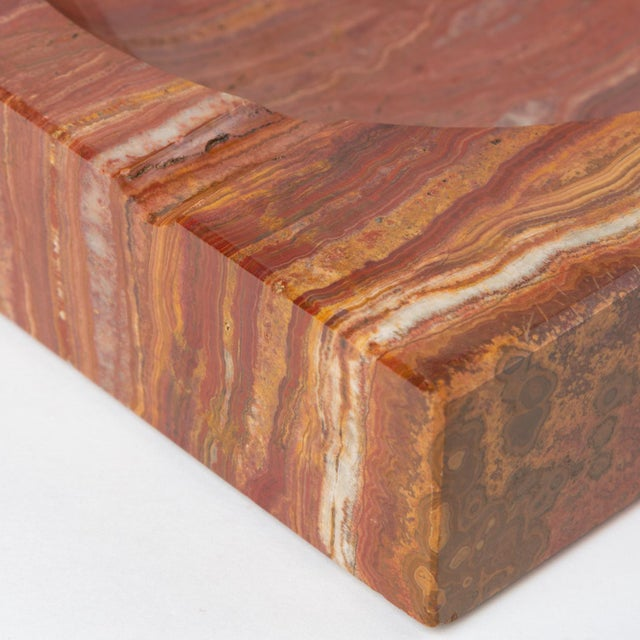 Vintage Square Ashtray in Red Onyx For Sale - Image 11 of 13