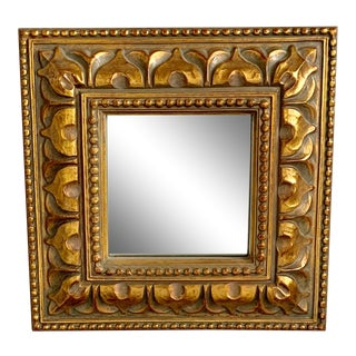 1990s Vintage Bombay Company Square Gold Accent Mirror For Sale