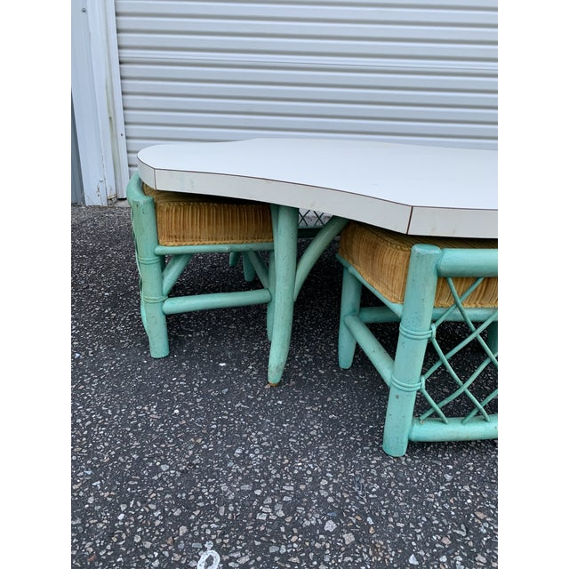 Wood Final Markdown Vintage Palm Beach Regency Wicker Bamboo Table and Chairs - 5 Pieces For Sale - Image 7 of 13