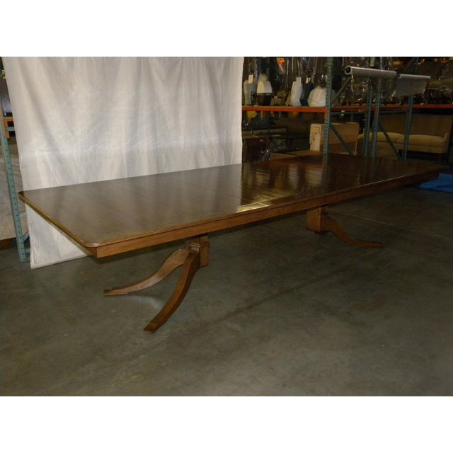 "**Brand-new Custom Pickwick Dining Table with Two (2) Leaves Planked Top with 4"" Banded, Reeded Edge and Radius Corners..."