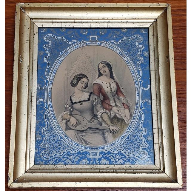 """Pair of Early 19th Century """"Charm"""" Framed Color Lithographs c.1832 Lithographs 7.5"""" Wide x 9.5"""" High Frames 10.5"""" Wide x..."""