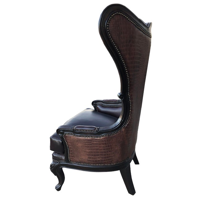 Leather Crocodile Back Wingback Accent Chair With Nail Trim French