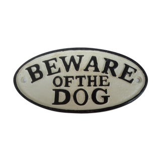 "Cast Iron Hand Painted ""Beware of Dog"" Sign"