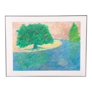 1988 David Bruner Louisiana Bayou II Original Pastel / Mixed-Media Drawing For Sale