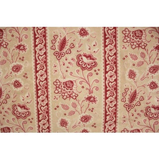 Antique French Embroidered Red & Pink Muted Tones Floral Fabric For Sale