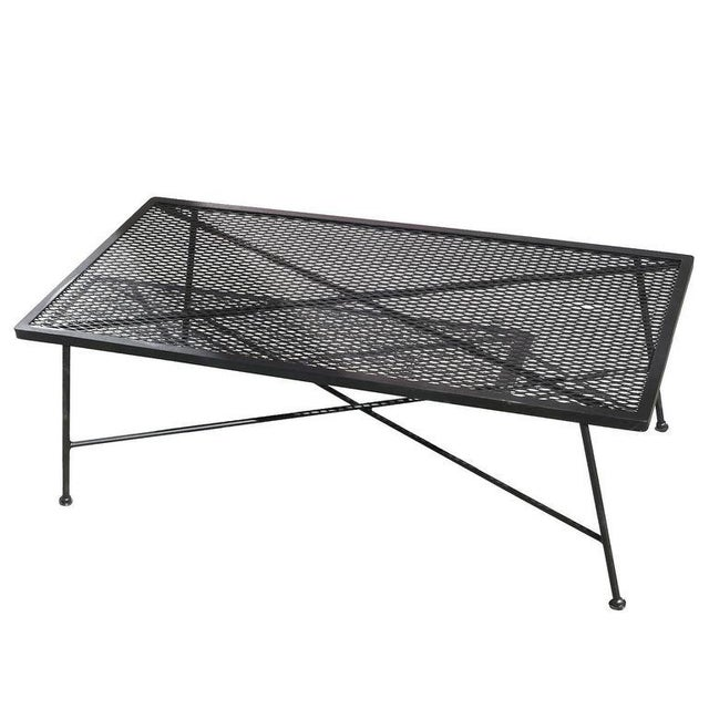 Russell Woodard Wrought Iron & Mesh Low Coffee Table - Image 3 of 5