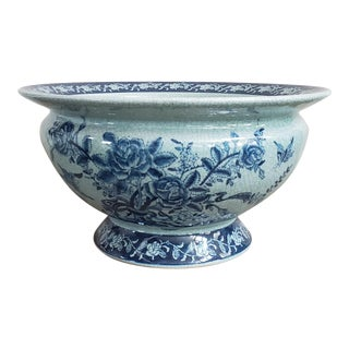 Vintage Chinoiserie Pottery Planter Footbath For Sale
