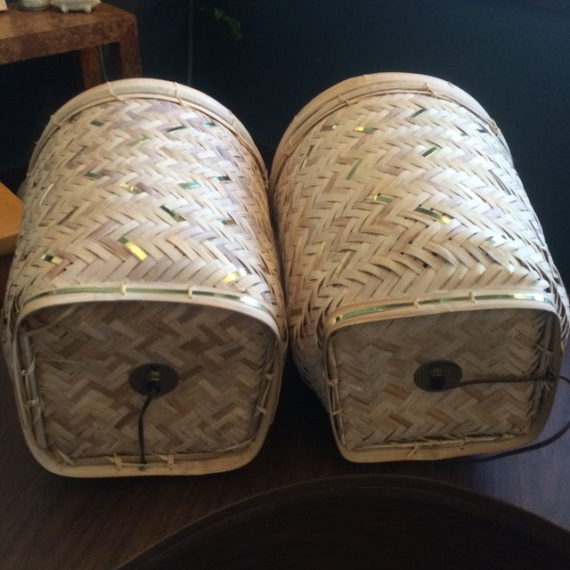 Rattan Basket Lamps With Brass Accents - a Pair - Image 5 of 7