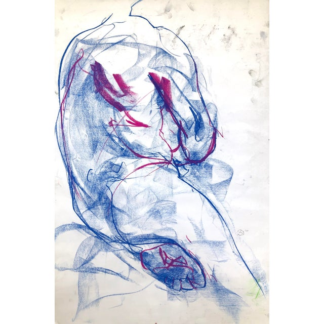 """Contemporary Figure Drawing in Blue and Violet Pastel, """"Seated Figure in Blue and Violet"""" by Artist David O. Smith For Sale"""