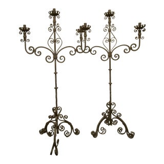 Vintage Six Foot Hand Forged Wrought Iron Candelabras, Ornate - a Pair For Sale