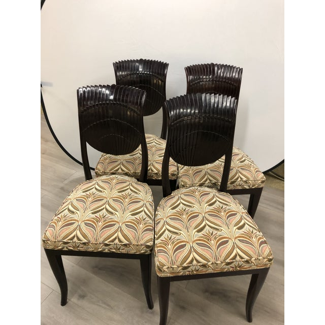 Wood Set (4) Vintage Chairs For Sale - Image 7 of 7