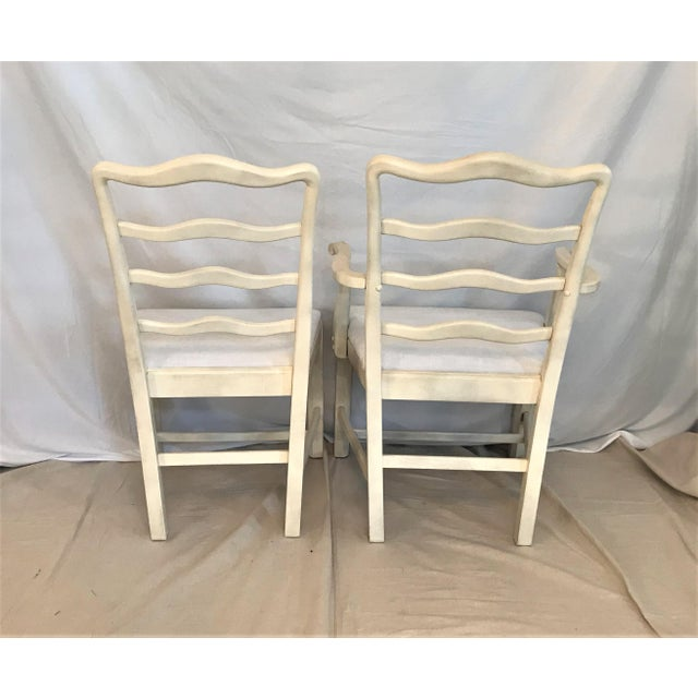 1920s 1920s Provençale Antique White Ladder Back Dining Chairs – Set of 8 For Sale - Image 5 of 9